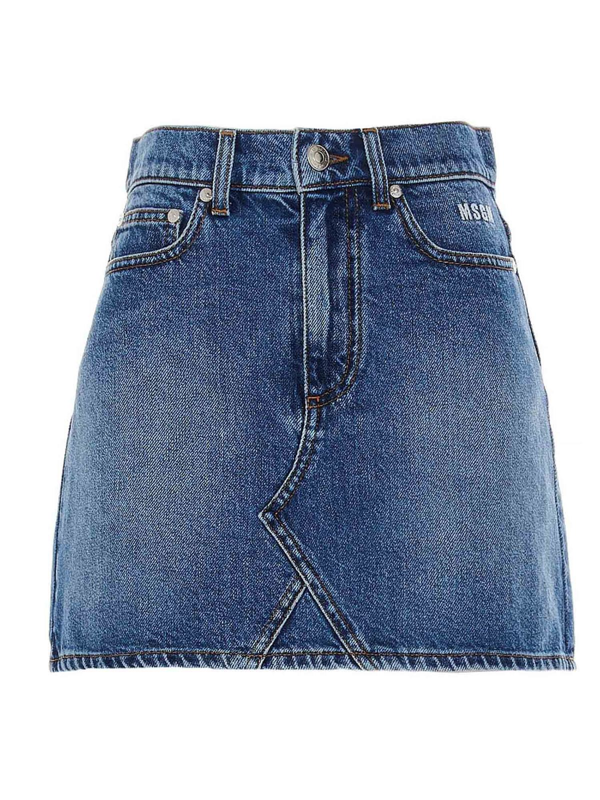 Msgm LOGO DENIM SKIRT IN BLUE