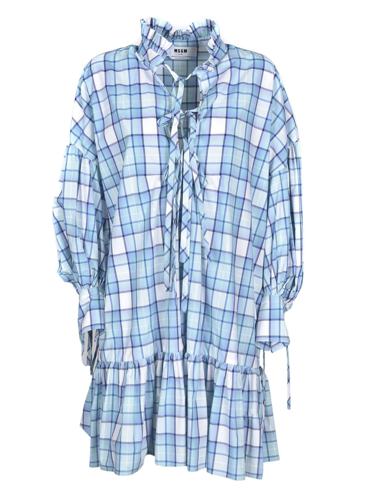 Msgm CHECKED SHIRT DRESS IN LIGHT BLUE