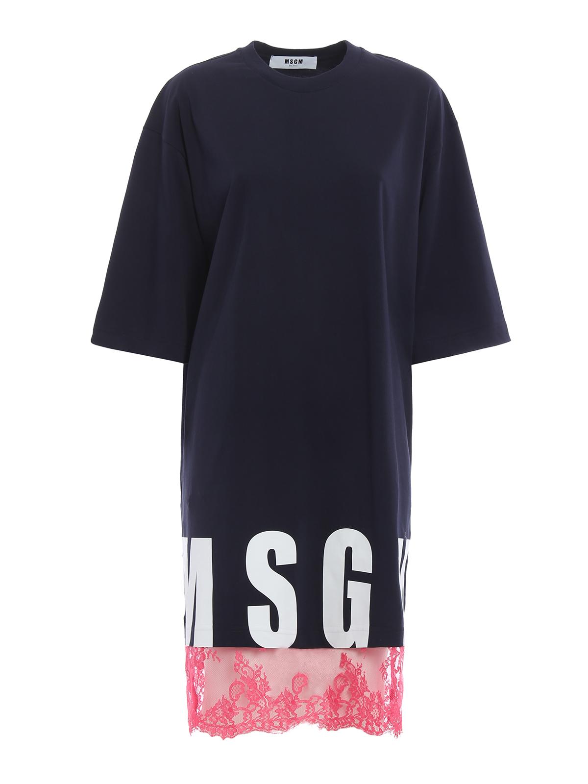 M.S.G.M. - Maxi T-shirt cotton dress - short dresses ...