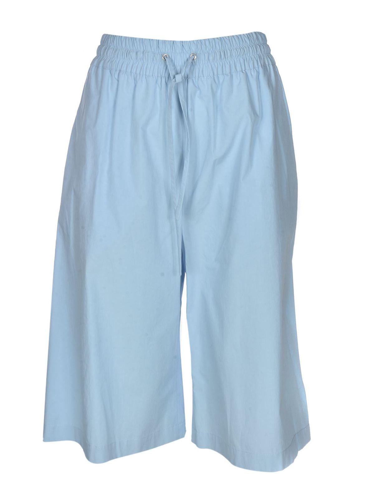 Msgm Cottons HIGH WAIST BERMUDA SHORTS IN LIGHT BLUE