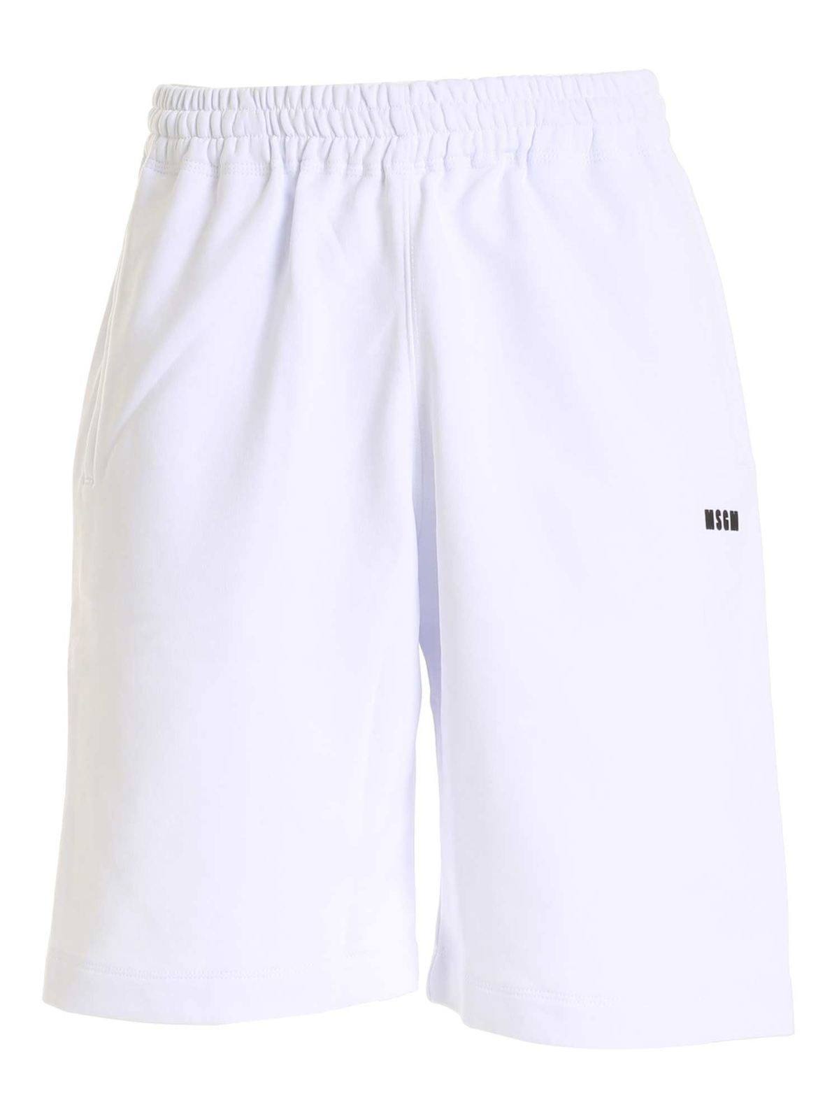 Msgm Cottons LOGO DETAIL BERMUDA SHORTS IN WHITE