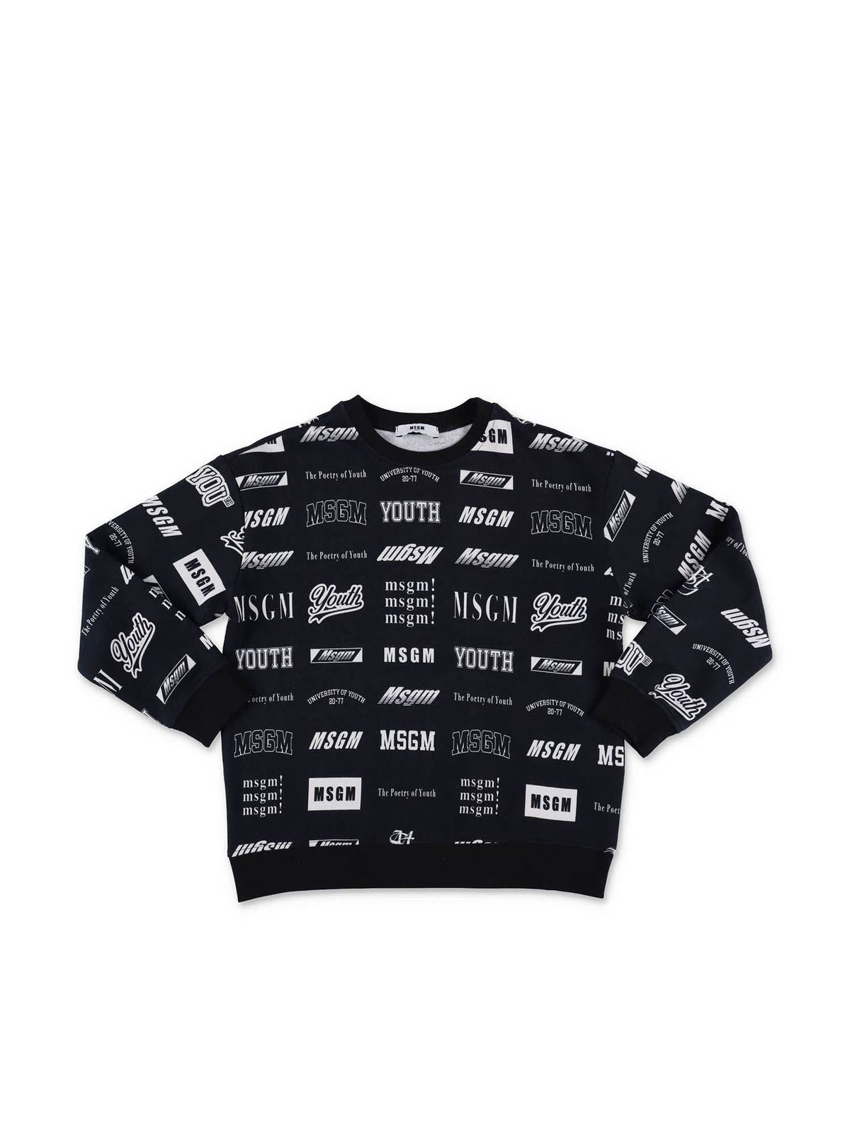 Msgm Cottons BLACK ALL-OVER LOGO SWEATSHIRT