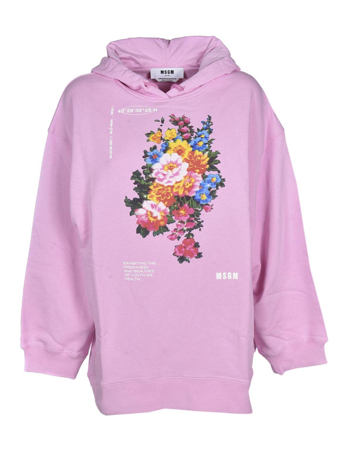 Msgm Cottons FLORAL PRINT AND LOGO SWEATSHIRT IN PINK
