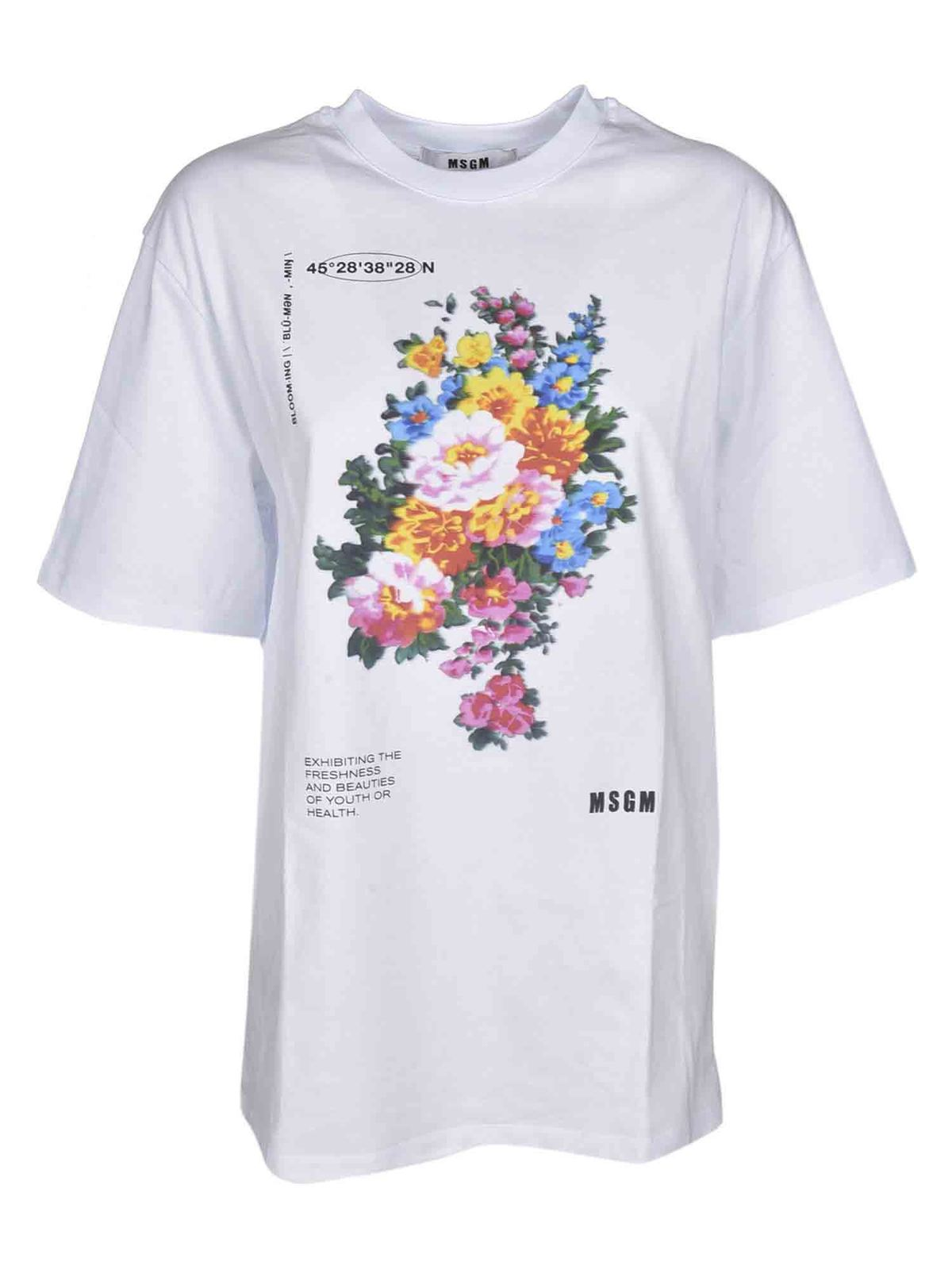 Msgm Clothing FLORAL PRINT OVERSIZE T-SHIRT