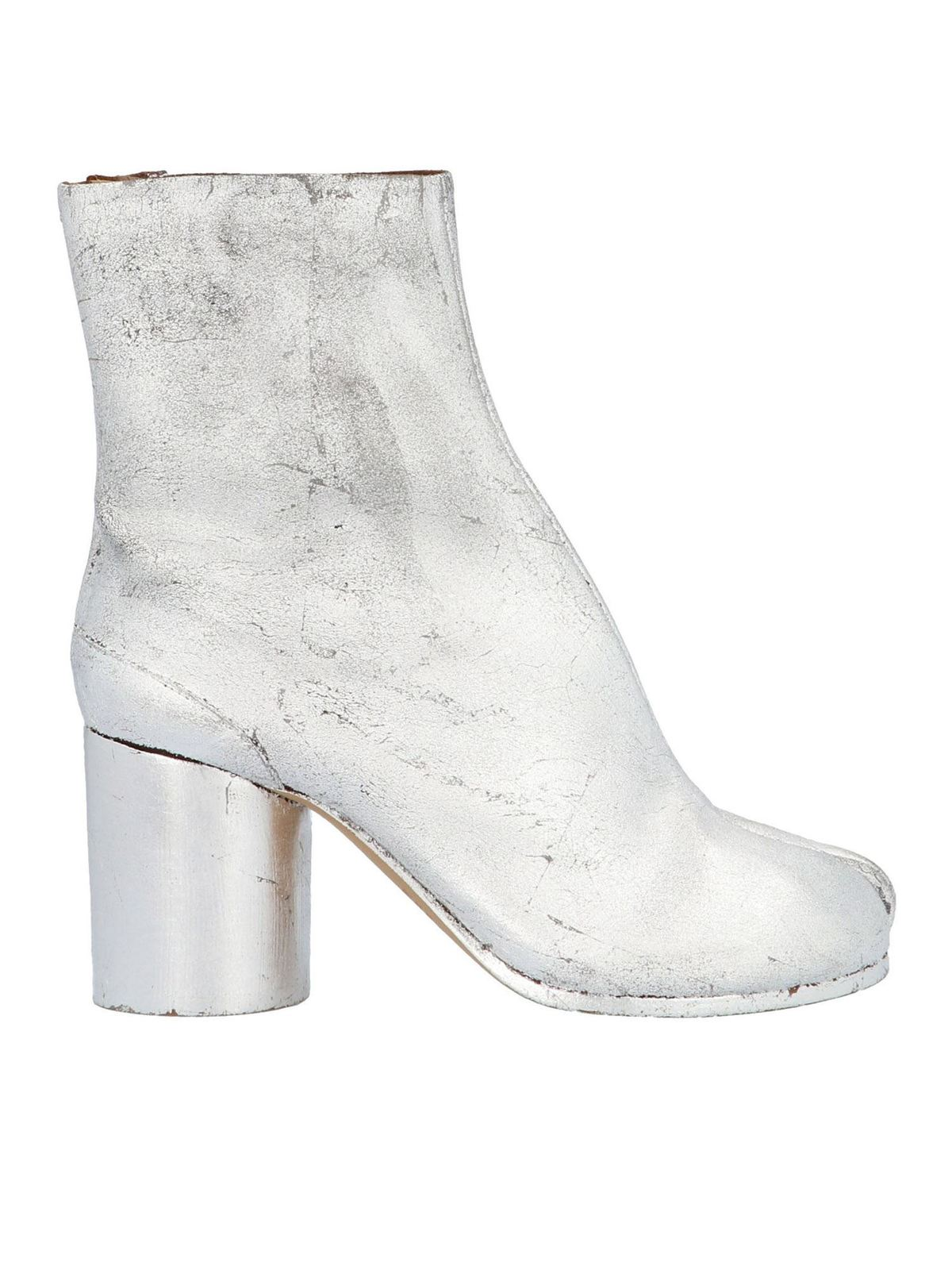 MAISON MARGIELA TABI ANKLE BOOTS IN SILVER COLOR
