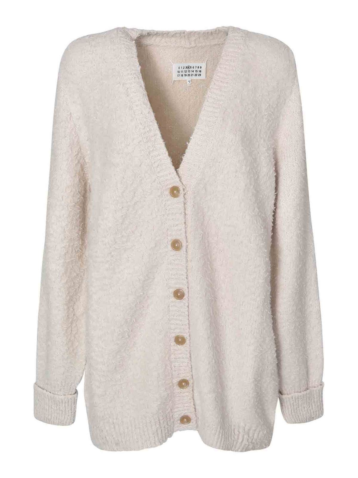 MAISON MARGIELA V-NECK CARDIGAN IN IVORY COLOR
