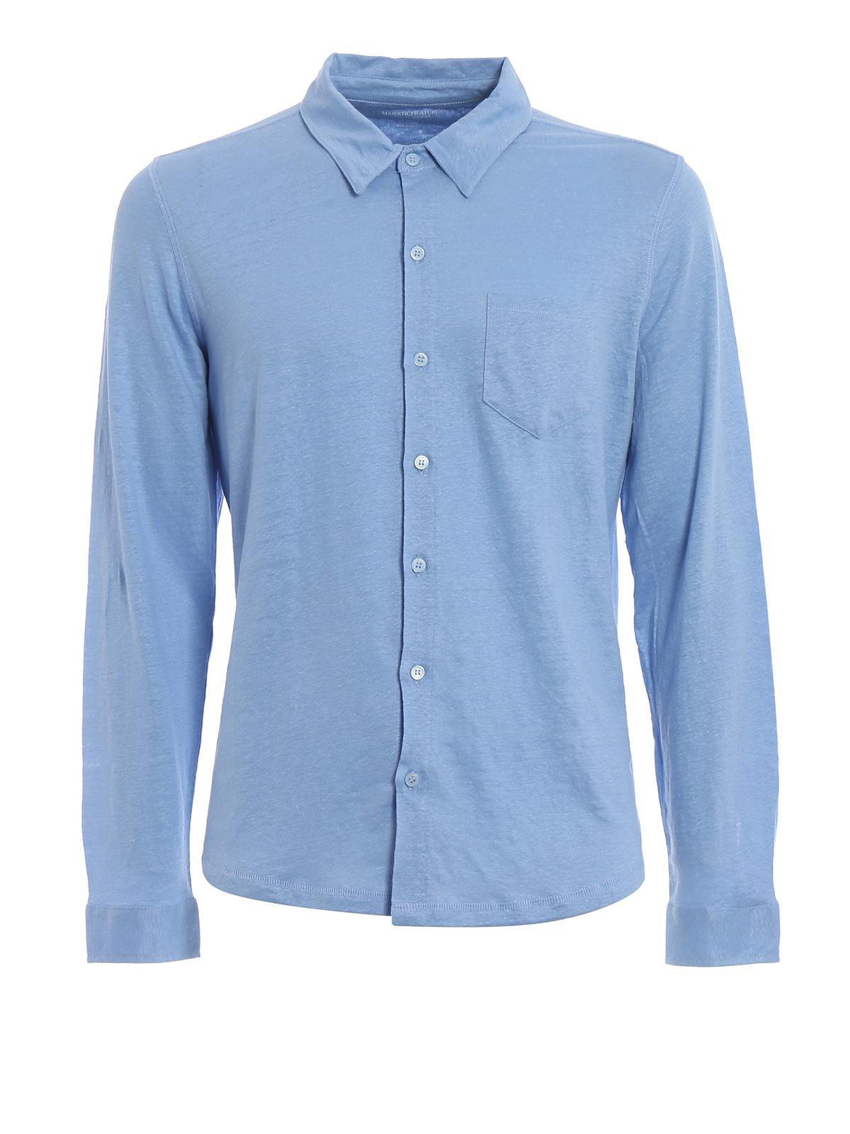 In Filatures Di Jersey Camicie Majestic Lino Camicia Azzurra 1Ex6qOSw