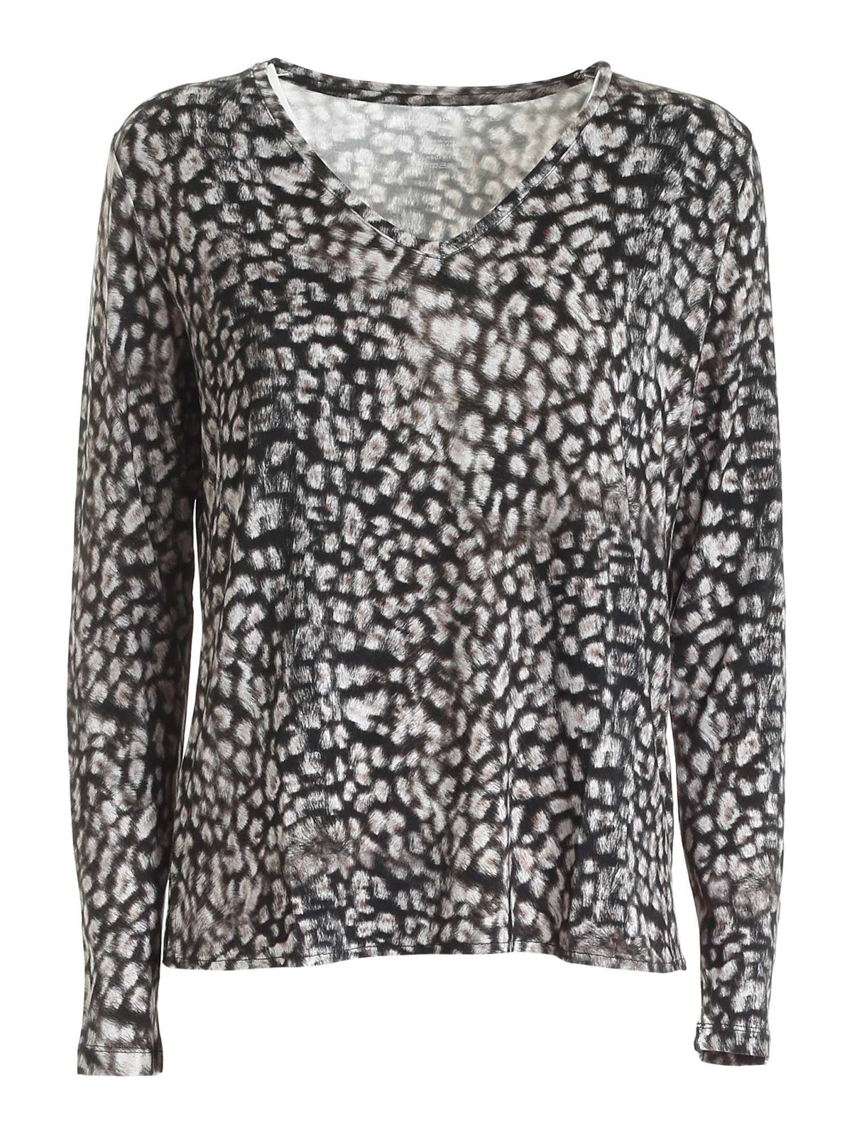 Majestic T-shirts FADED EFFECT ANIMAL PRINT VISCOSE T-SHIRT
