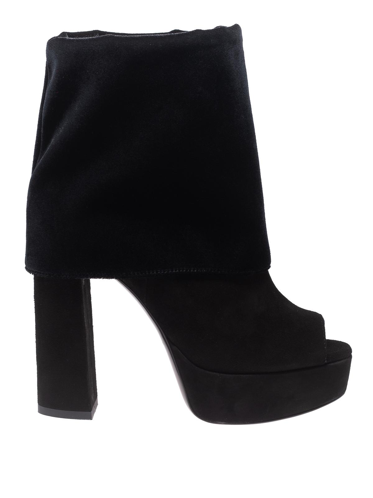 black platform peep toe booties