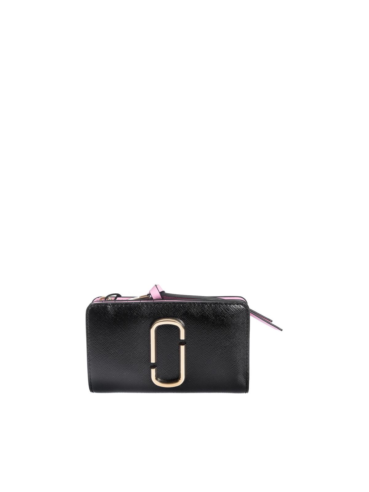 MARC JACOBS THE SNAPSHOT COMPACT WALLET IN BLACK