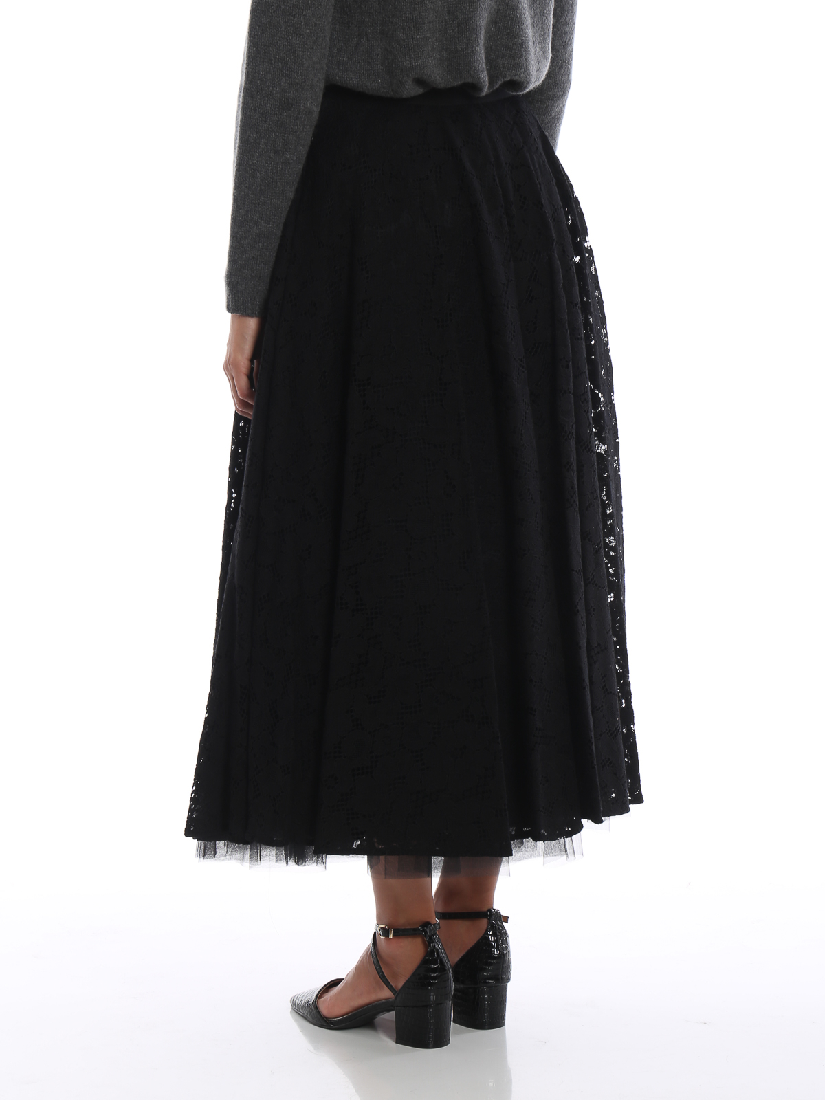 more photos 2ef6d 2a181 Max Mara - Gonna midi Marilyn nera in pizzo e tulle - Gonne ...