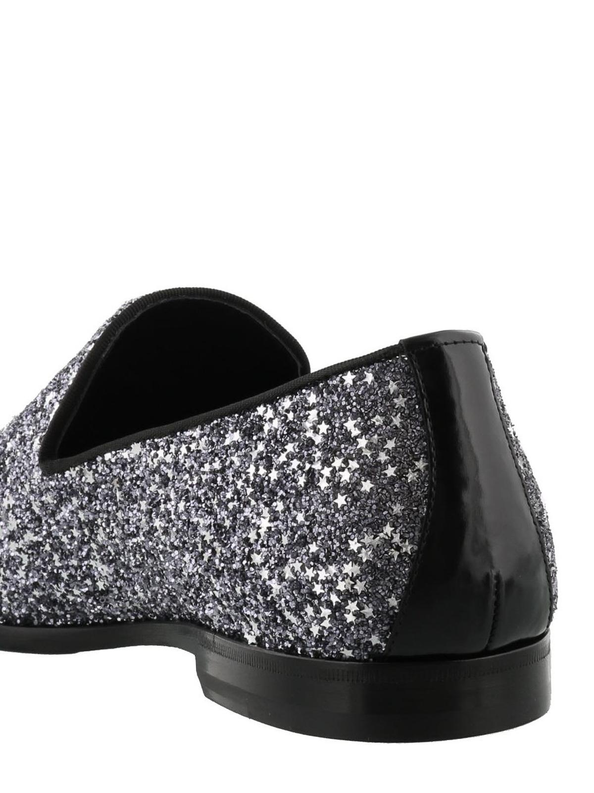 3ed1c9086ebd6 Jimmy Choo - Marlo gunmetal coarse glitter shoes - Loafers ...