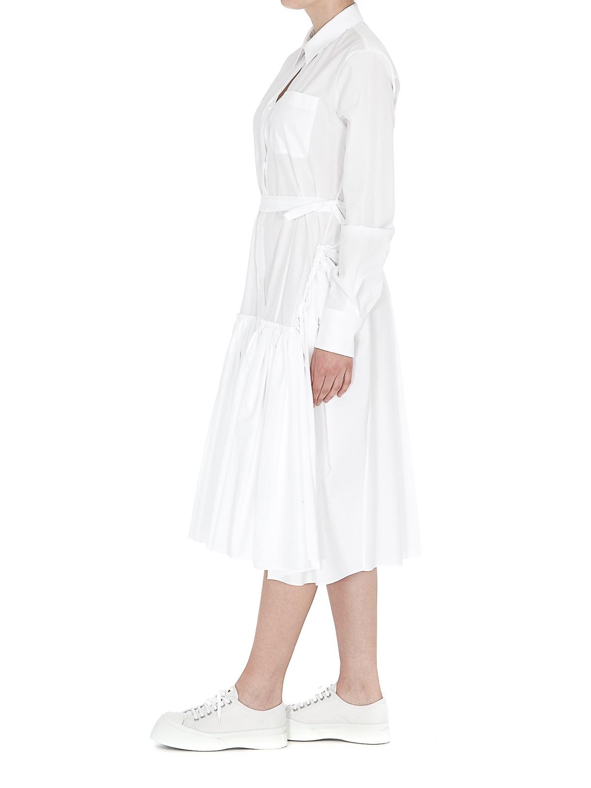 Marni - White cotton poplin shirt dress - knee length dresses ...