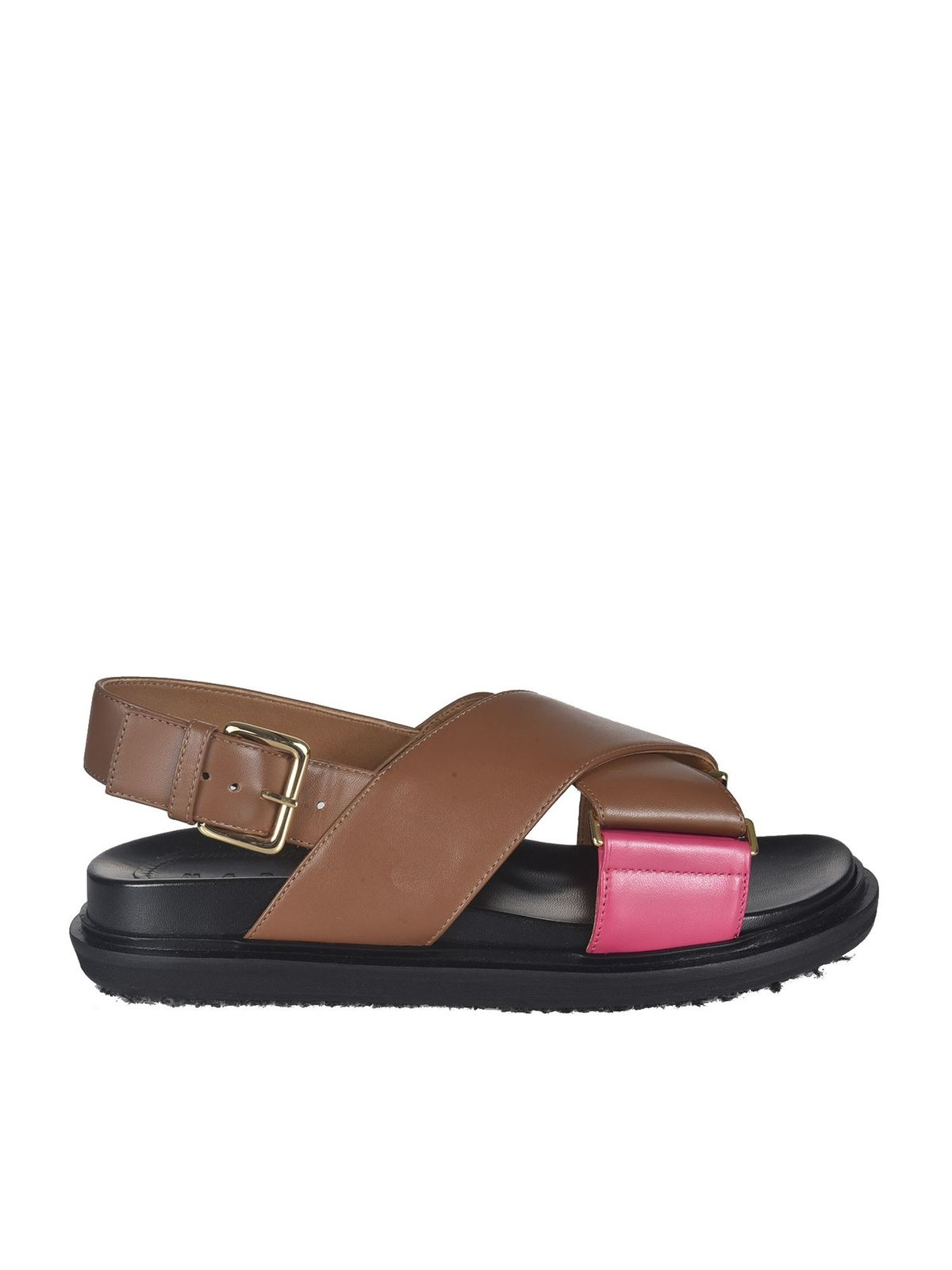 MARNI CROSS SANDALS IN BROWN AND PINK