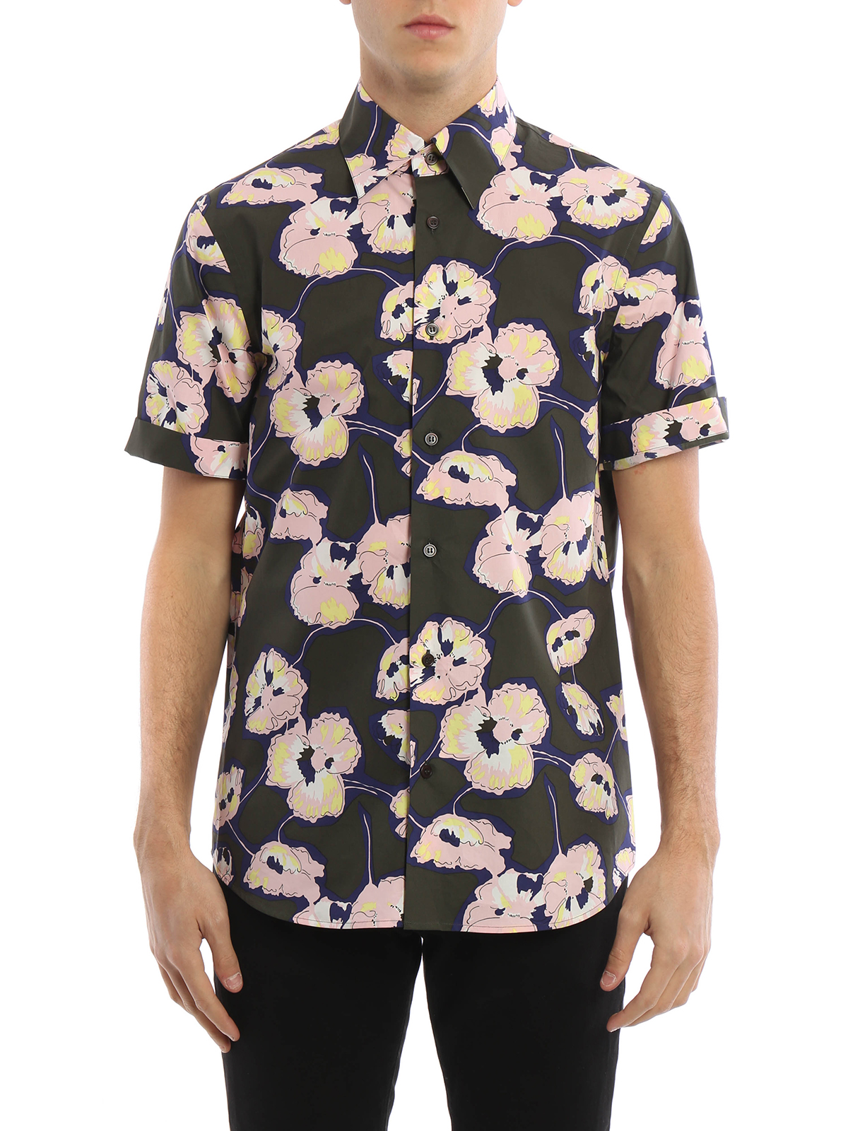 Printed cotton short sleeve shirt by marni shirts shop for Printed short sleeve shirts