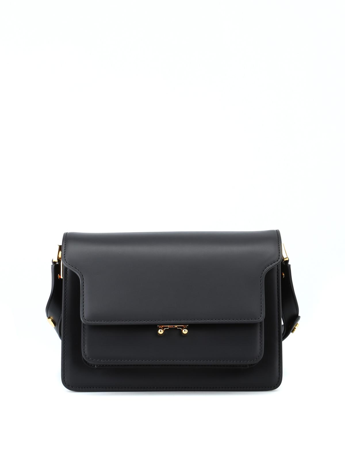 Marni TRUNK BLACK SMOOTH LEATHER BAG