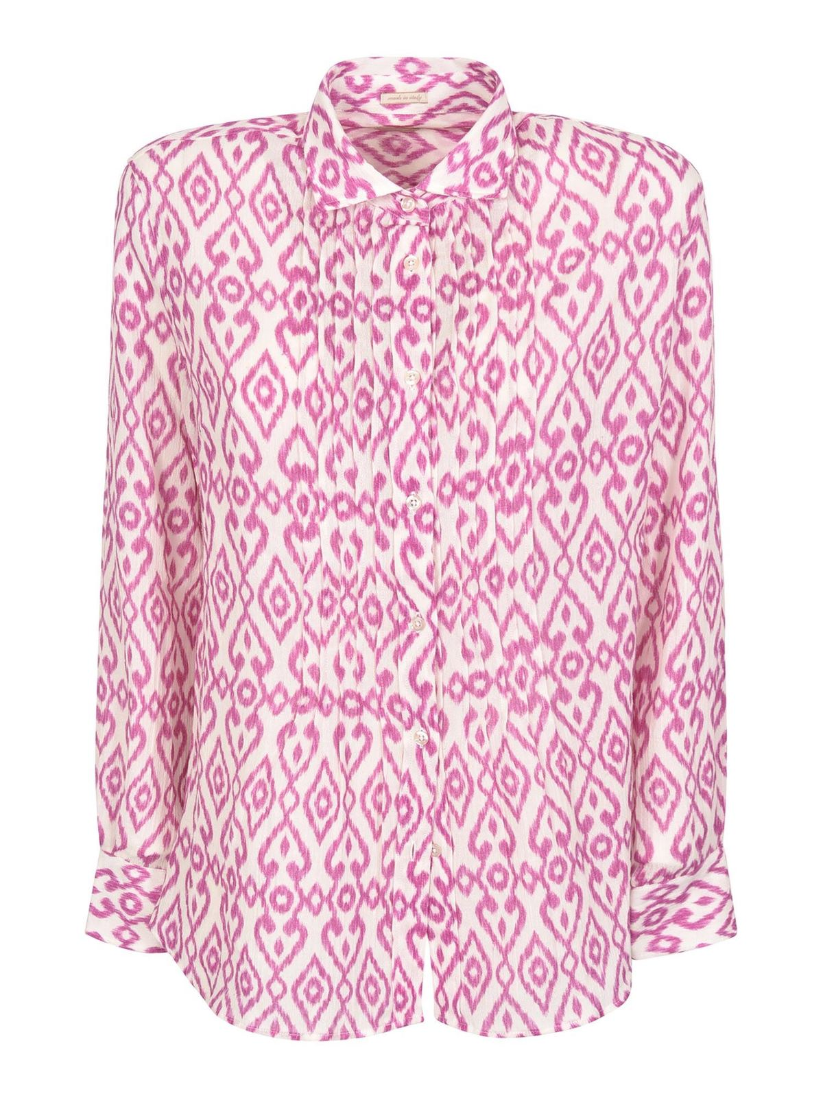 Massimo Alba Cottons DEA PRINTED SHIRT IN PINK AND WHITE