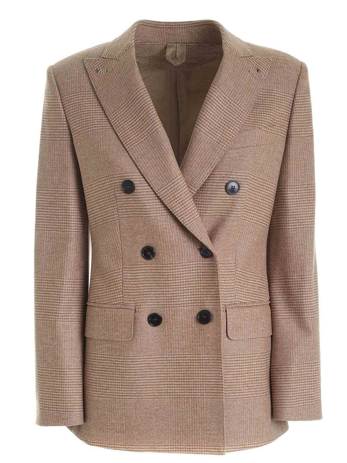 Max Mara Cashmeres JUDY JACKET IN SHADES OF BROWN AND CAMEL COLO