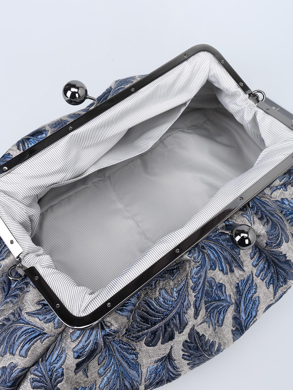 Max Mara - Pasticcino Bag Maxi in jacquard argento e blu - pochette ... e111877092b