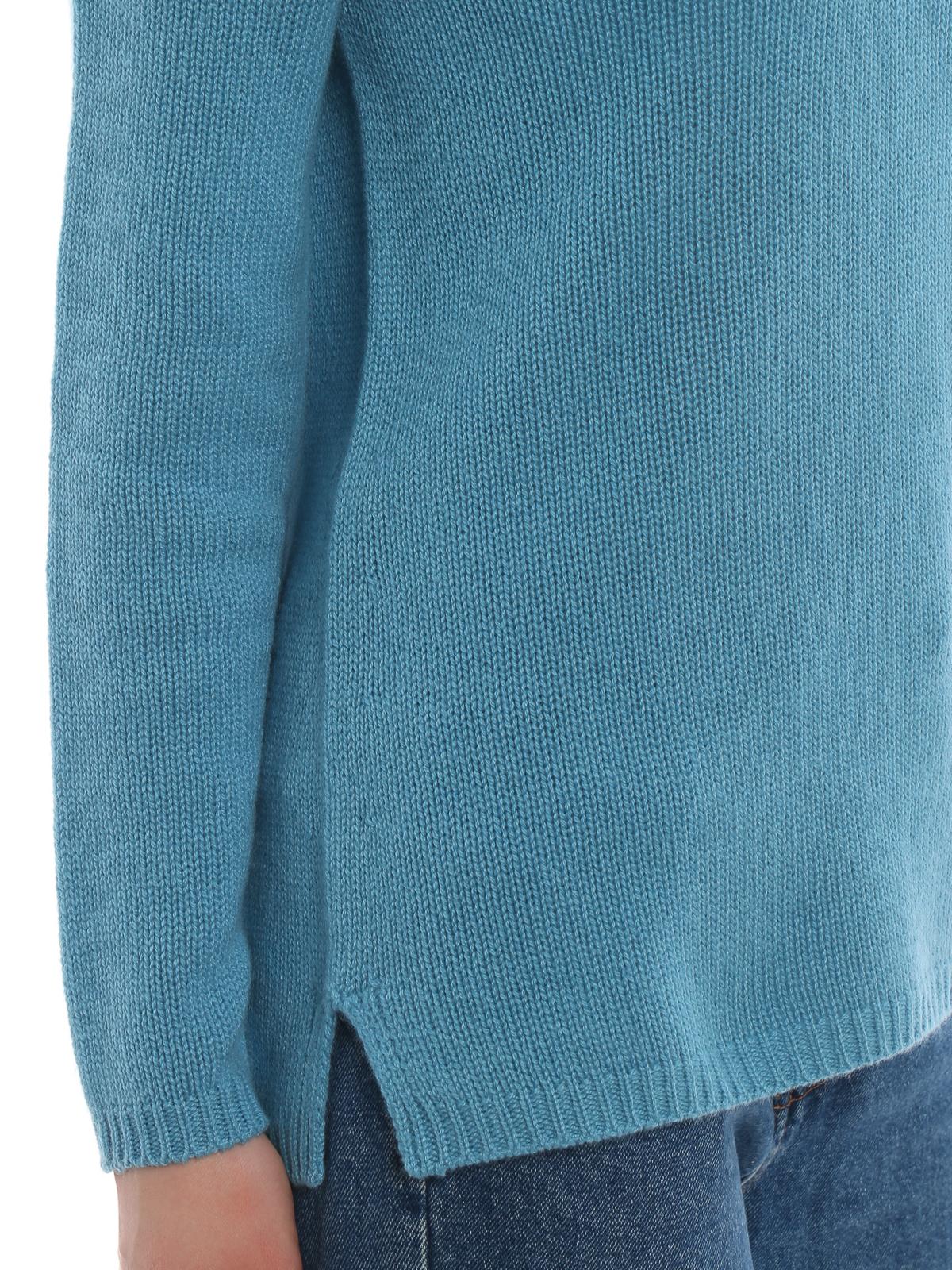 Max Mara - Pullover Giorgio azzurro in cashmere - maglia collo ... 11c51dbb06b