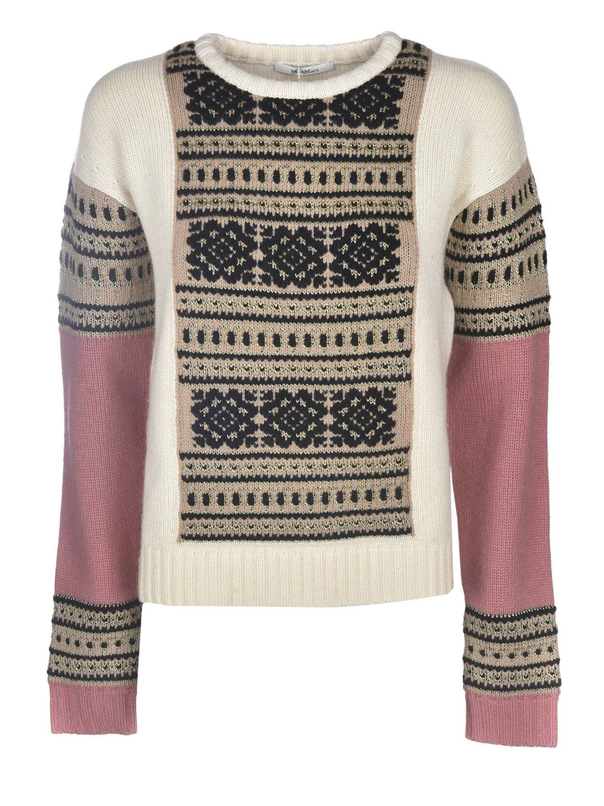 MAX MARA LIANA SWEATER IN WHITE AND PINK