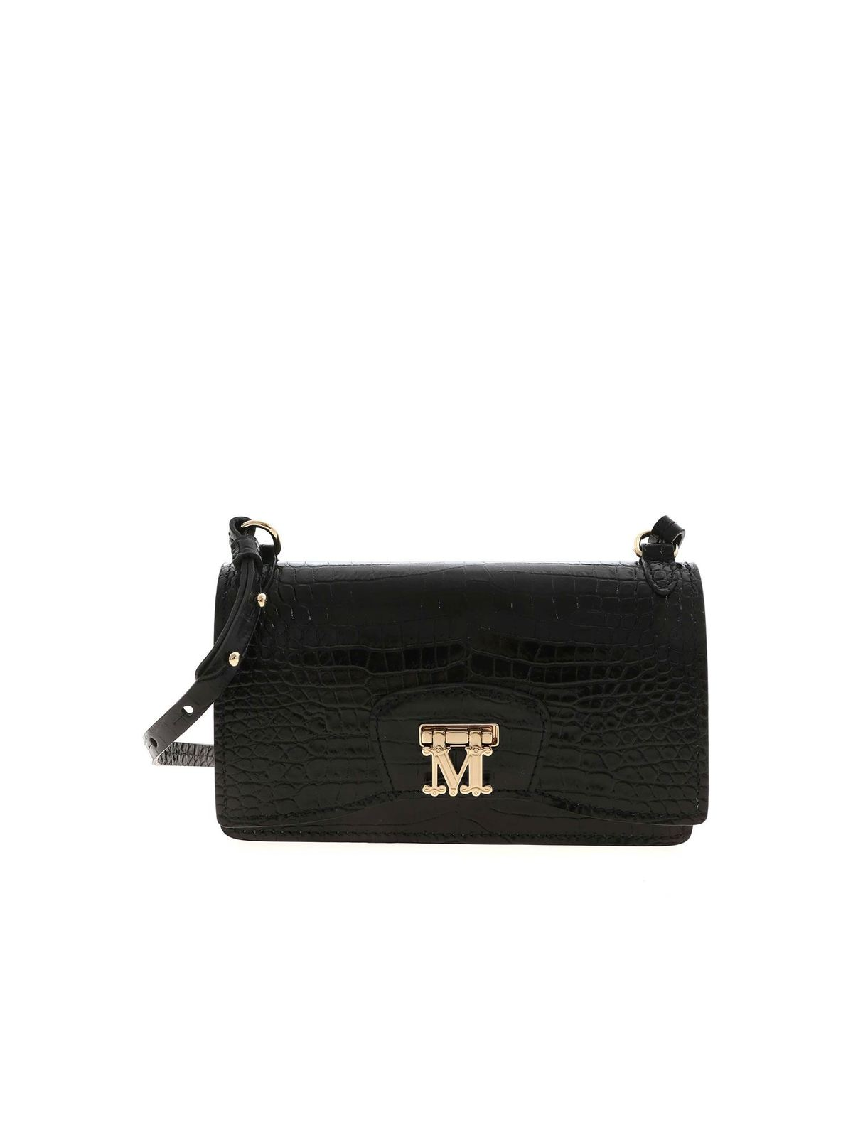 Max Mara MARLENC CROCO PRINT BAG IN BLACK