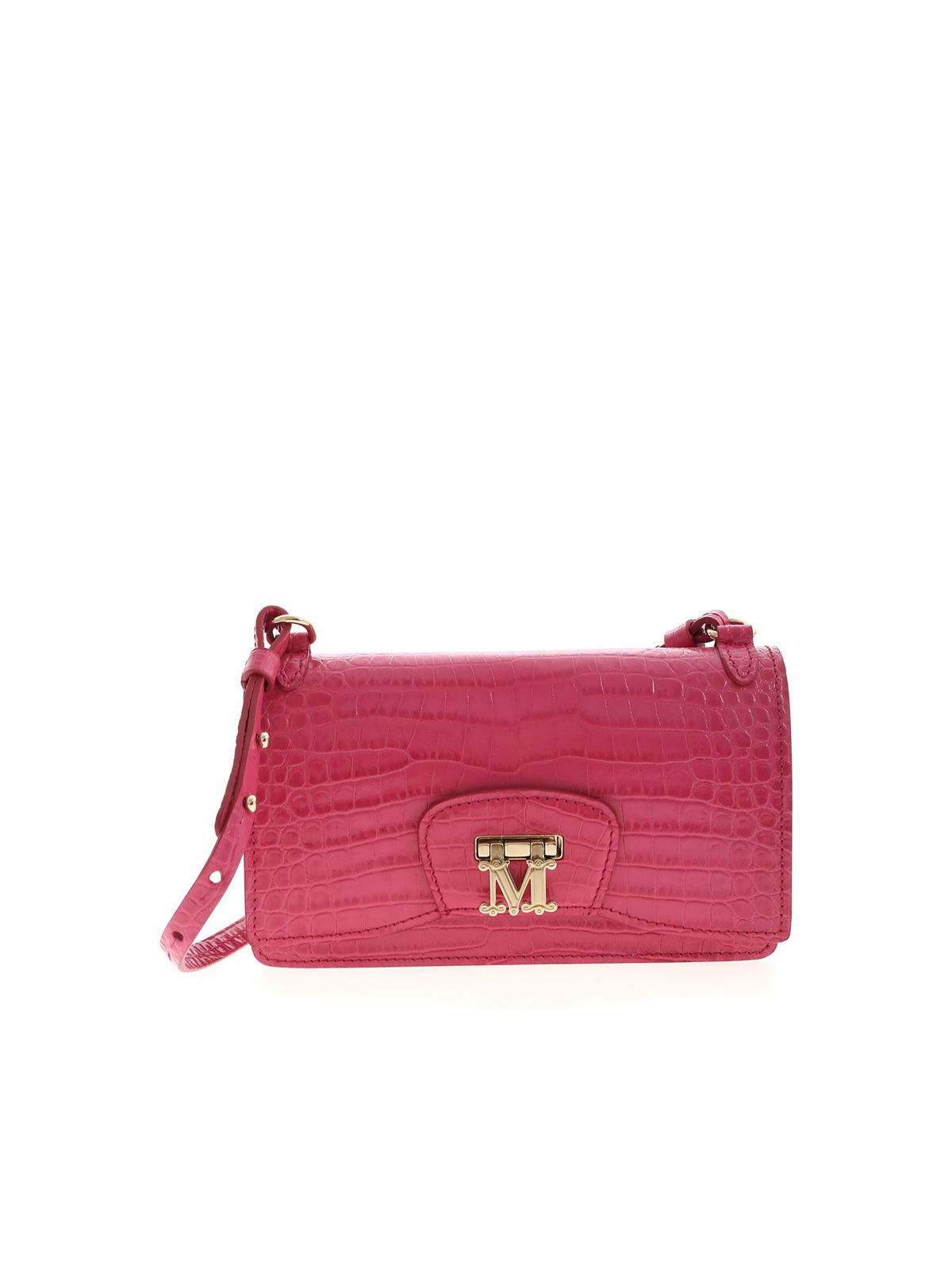 Max Mara MARLENC CROCO PRINT BAG IN PINK