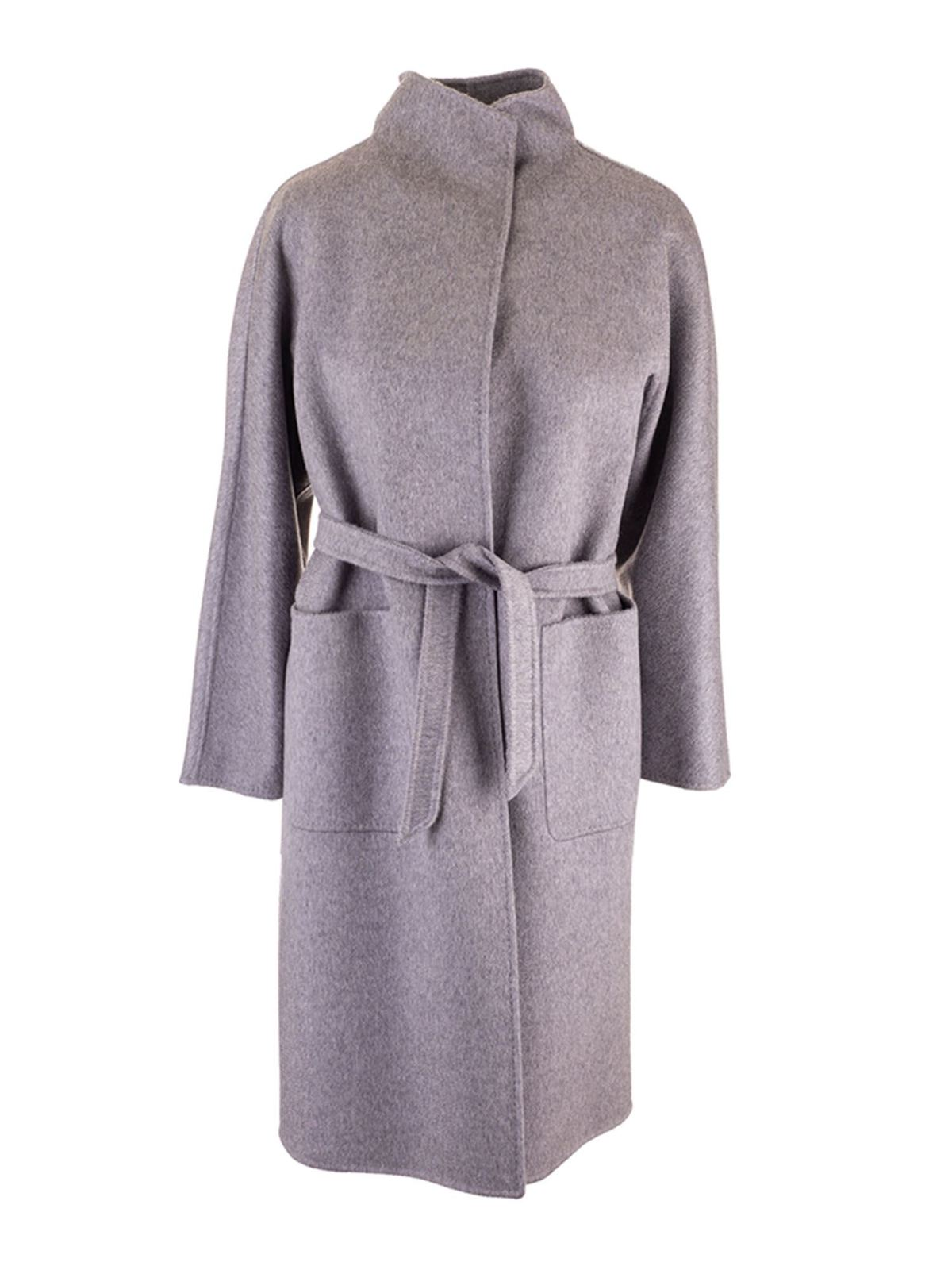 Max Mara Coats WRAPAROUND COAT IN GREY