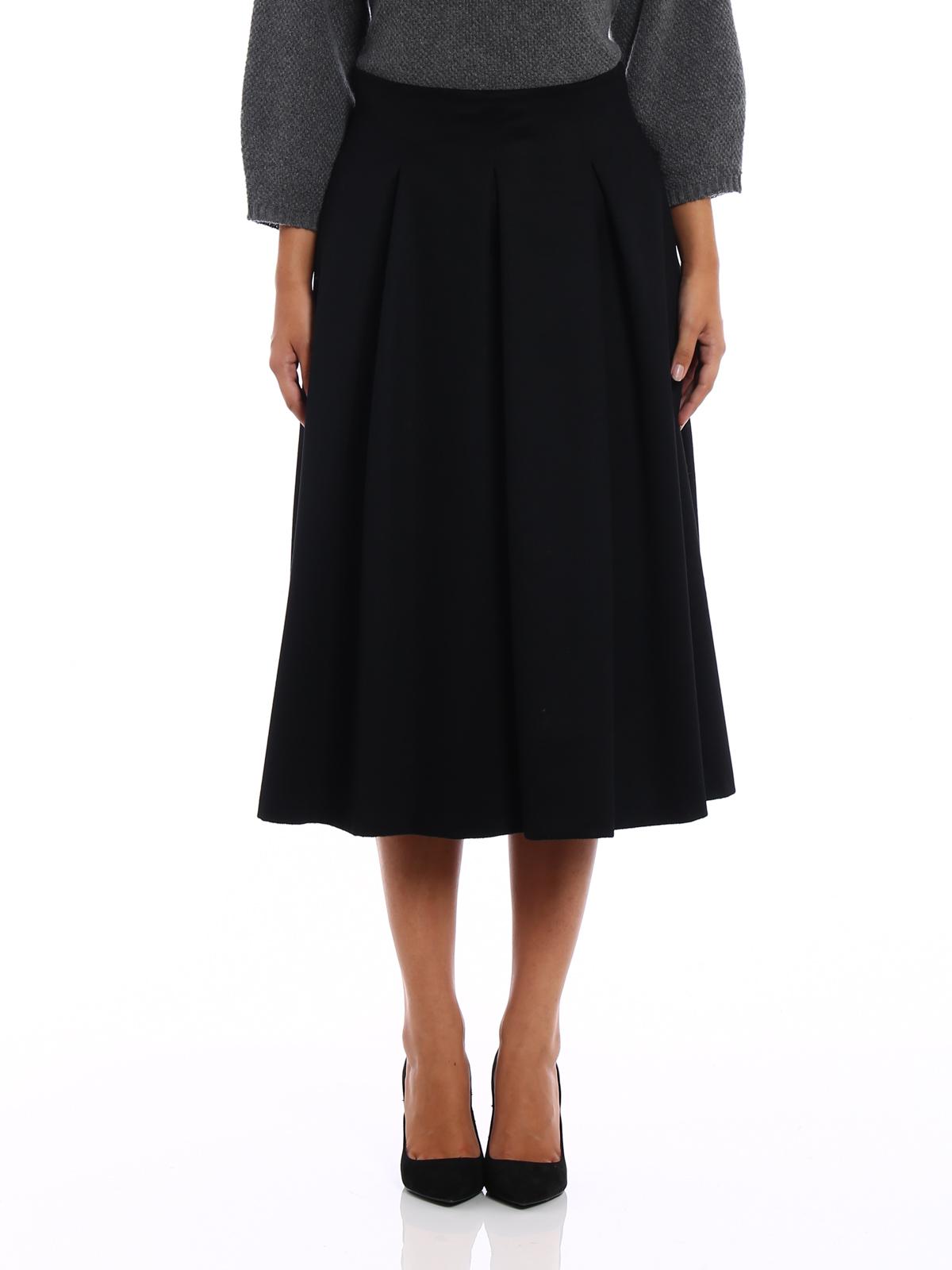 fratte black camel flared skirt by max mara knee length skirts