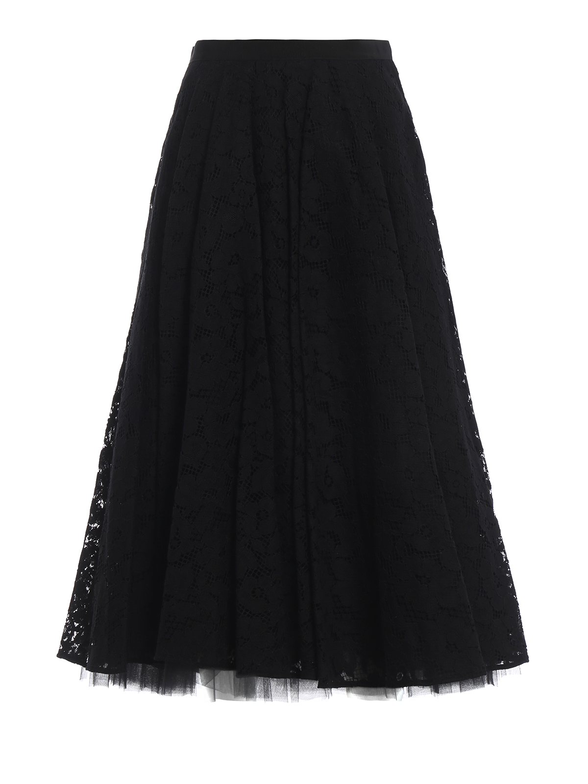 47a630d83a Max Mara - Marilyn black lace and tulle midi skirt - Long skirts ...