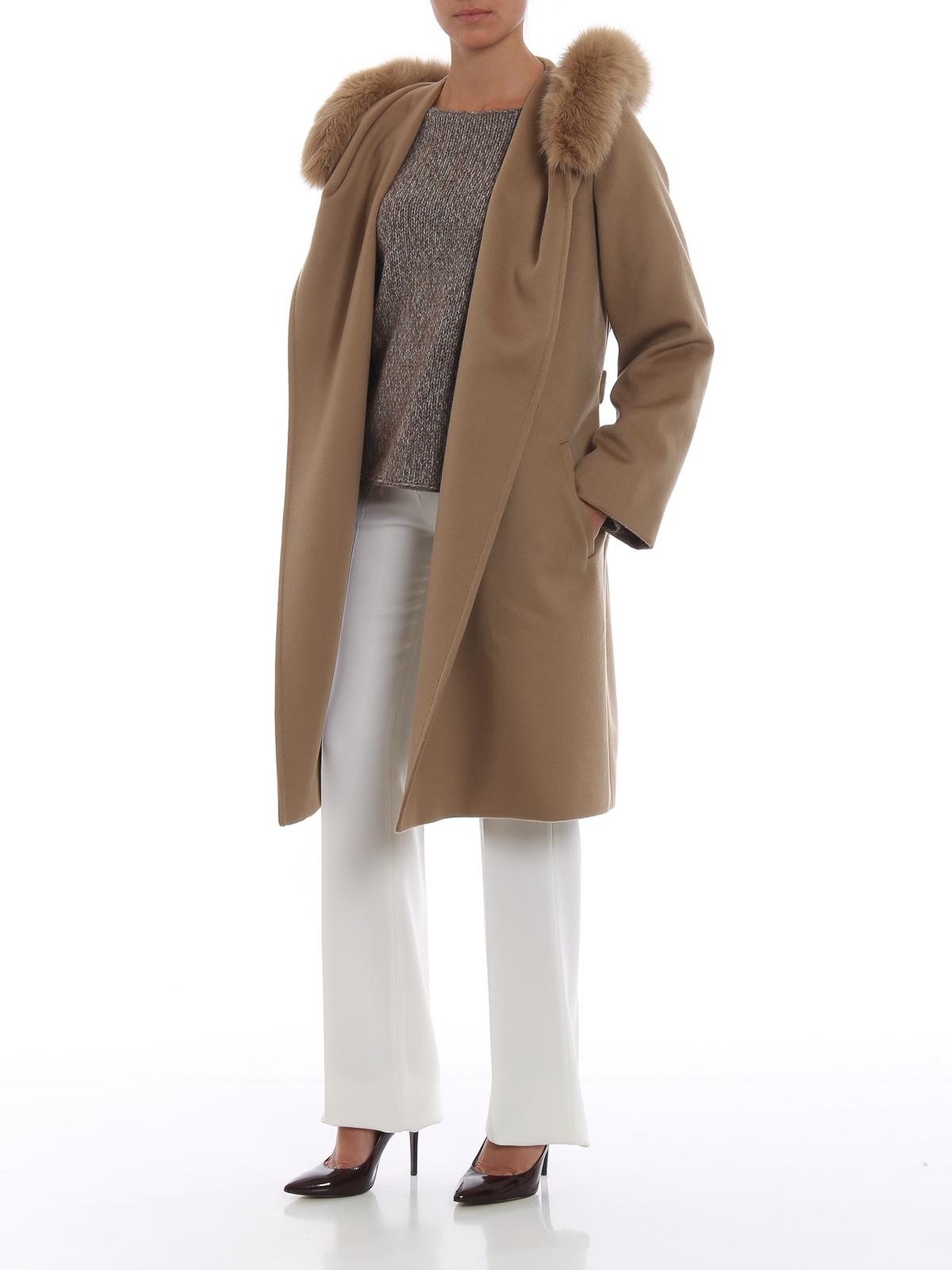 finaste urvalet väldigt billigt för hela familjen Max Mara - Mango fur trim hooded wool coat - knee length coats ...