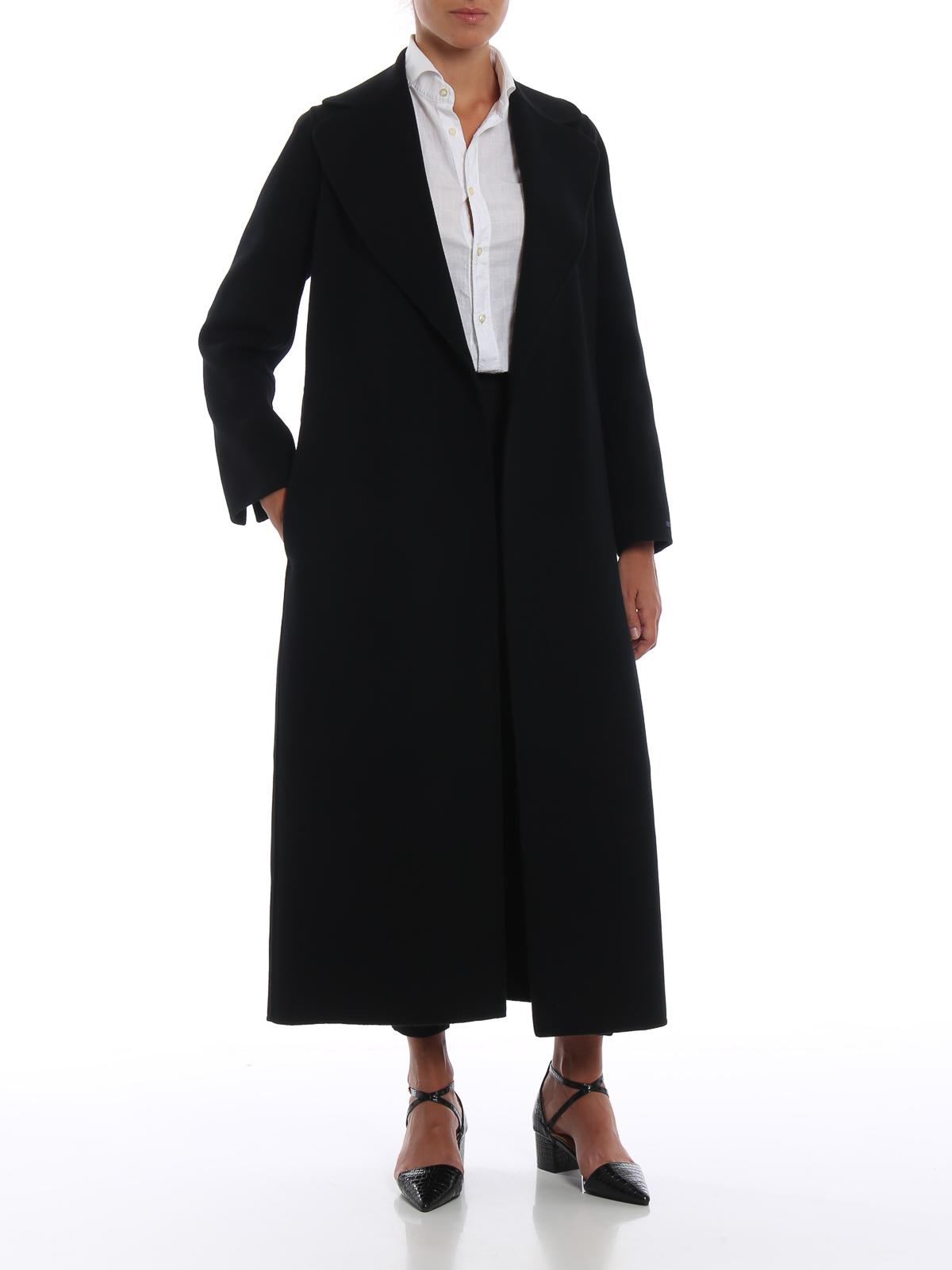 huge selection of e0e77 586a8 Max Mara - Cappotto nero lungo a vestaglia Poldo - cappotti ...