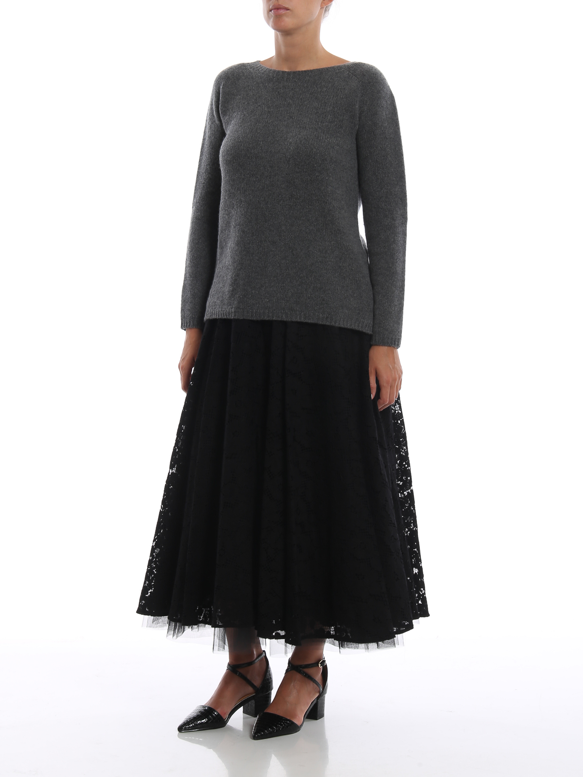 c8d0e3d1c3 Max Mara: Long skirts online - Marilyn black lace and tulle midi skirt