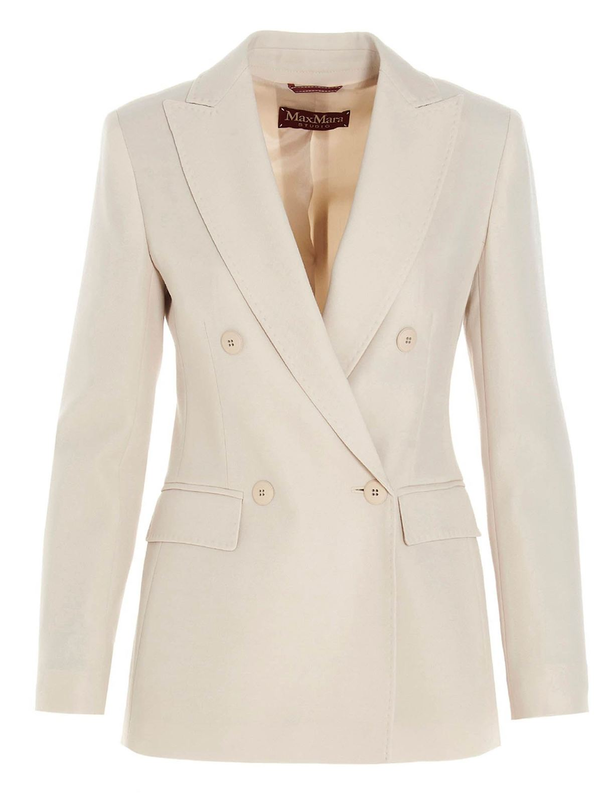 Max Mara EBBRI DOUBLE-BREASTED BLAZER IN VANILLA