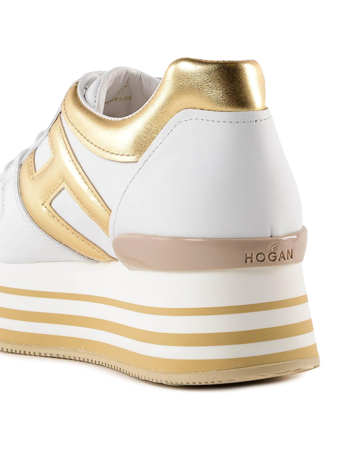 Sneakers Hogan - Sneaker Maxi H222 bianca e oro in pelle ...
