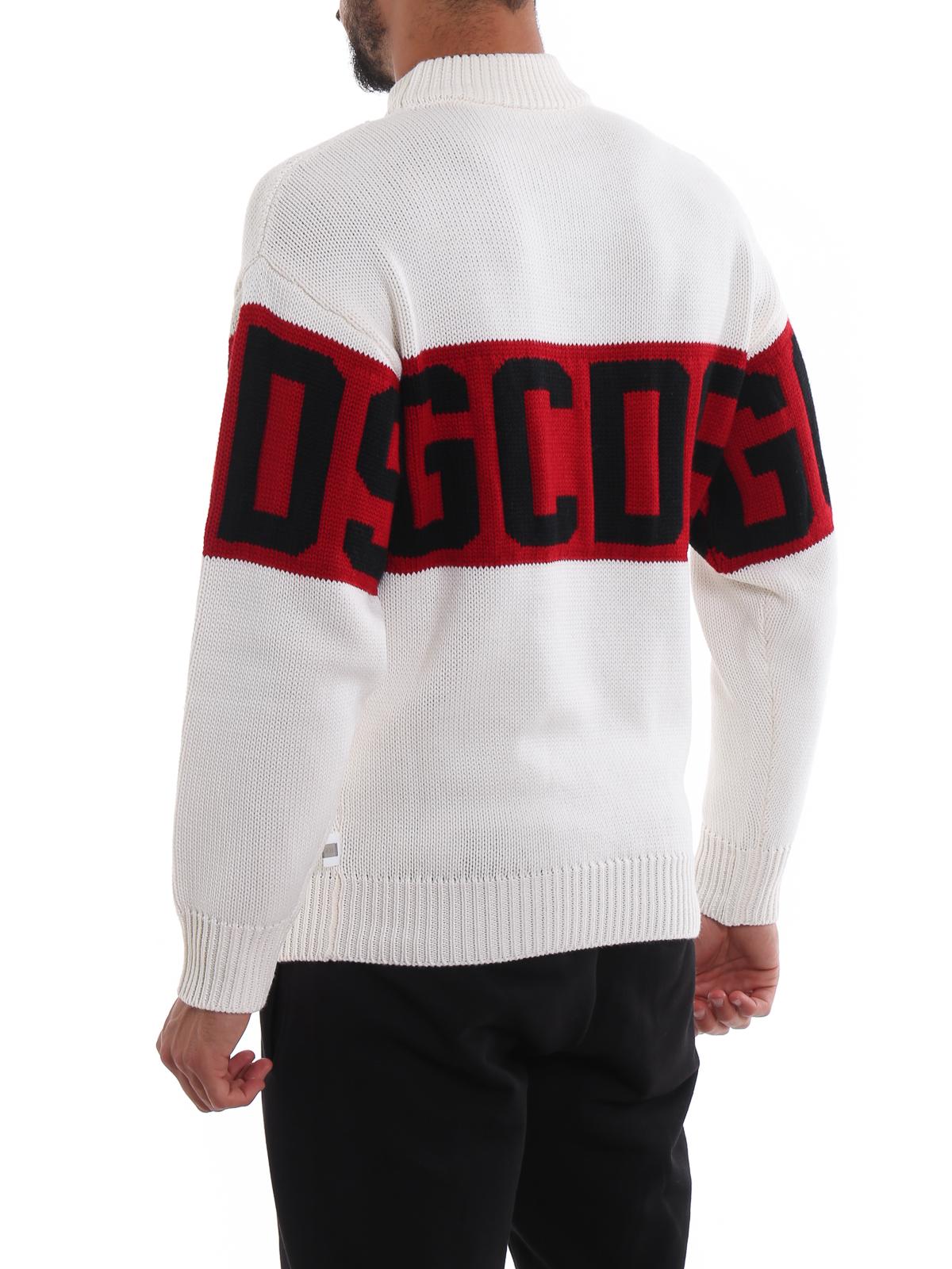 best website 364c6 7e39f Gcds - Maglione over bianco con maxi intarsio logo - maglia ...