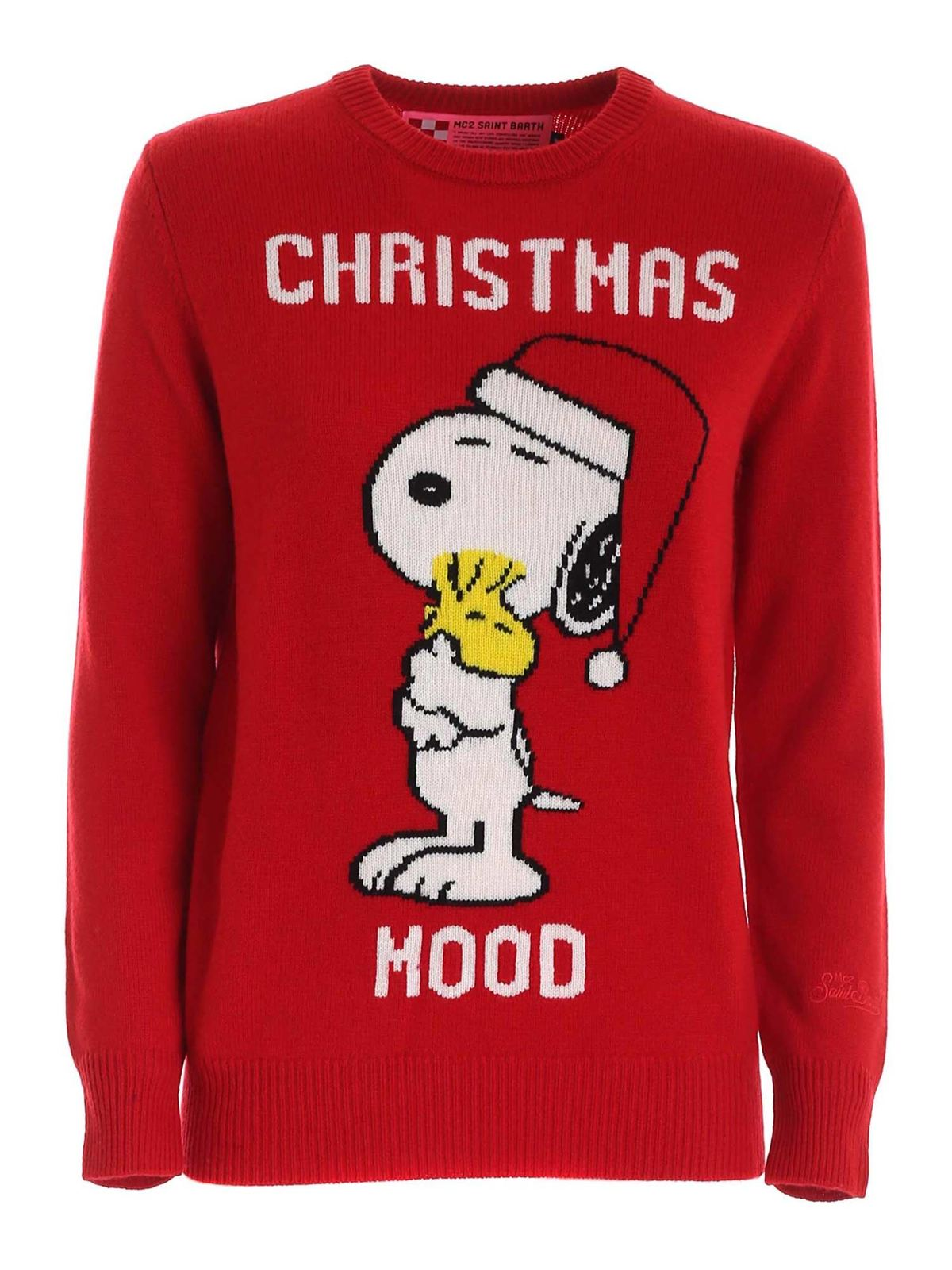 Mc2 Saint Barth CHRISTMAS MOOD INLAY PULLOVER IN RED