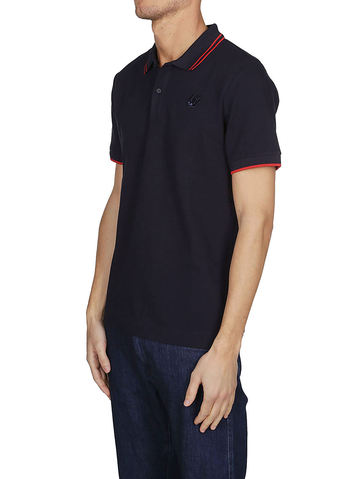 Mcq Swallow Embroidered Navy Blue Polo Shirt Polo Shirts