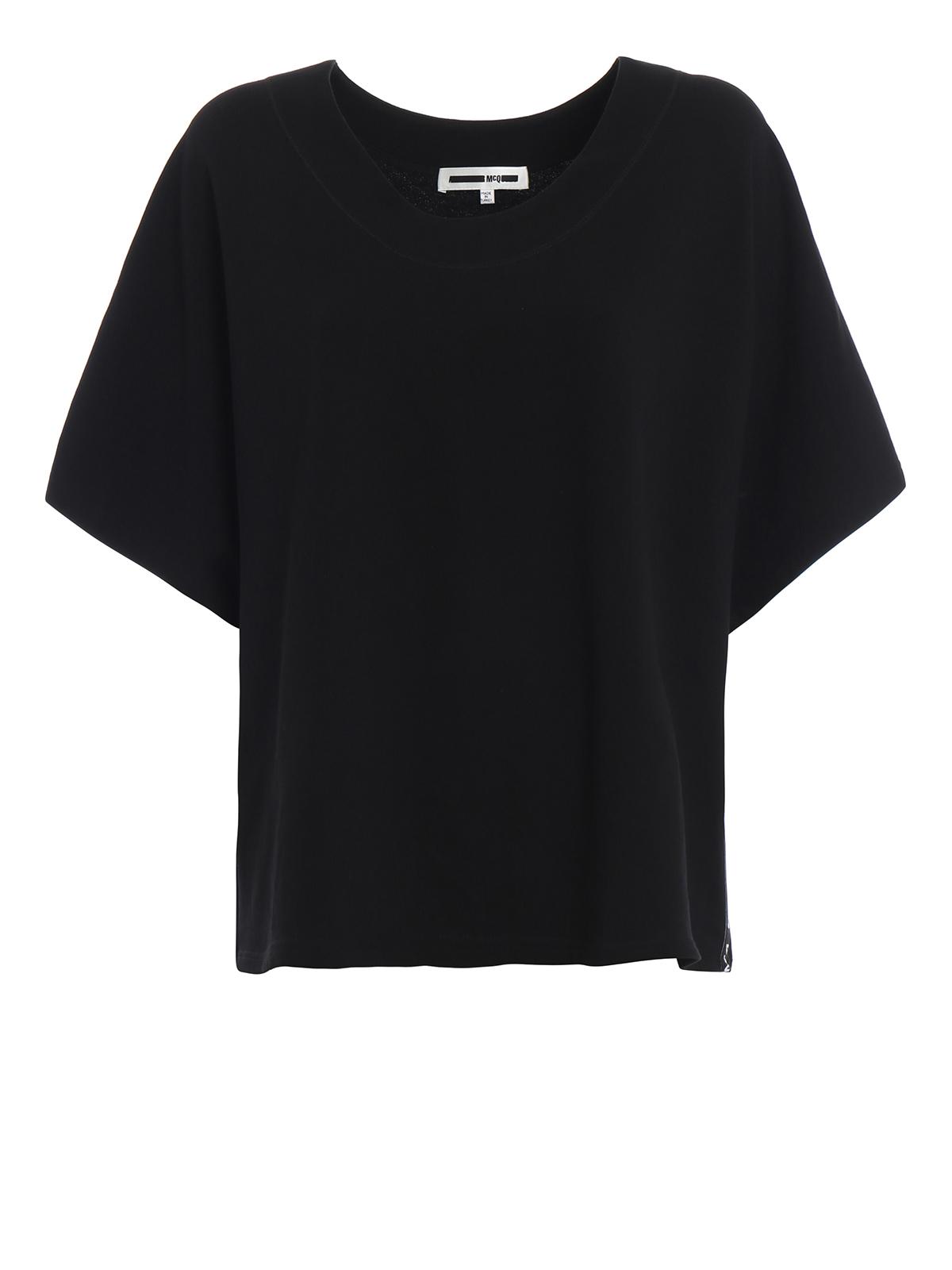 Mcq Felpa boxy nera con bande logo Felpe e maglie