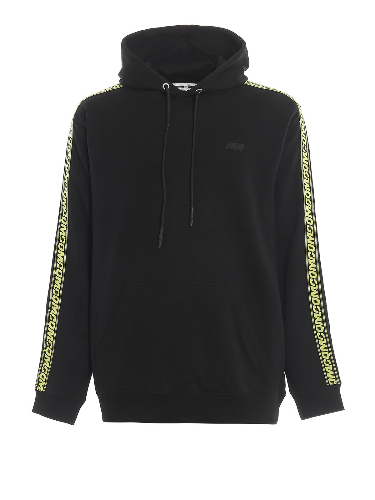 Mcq Felpa nera con bande logo Felpe e maglie