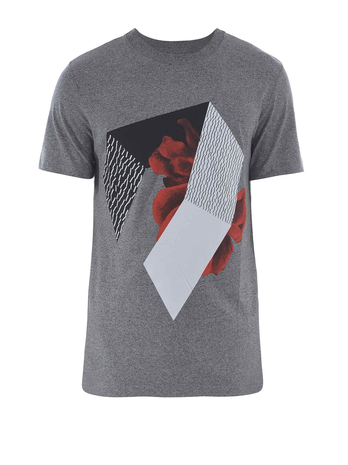 Geometric printed t shirt by mcq t shirts ikrix for Who prints t shirts