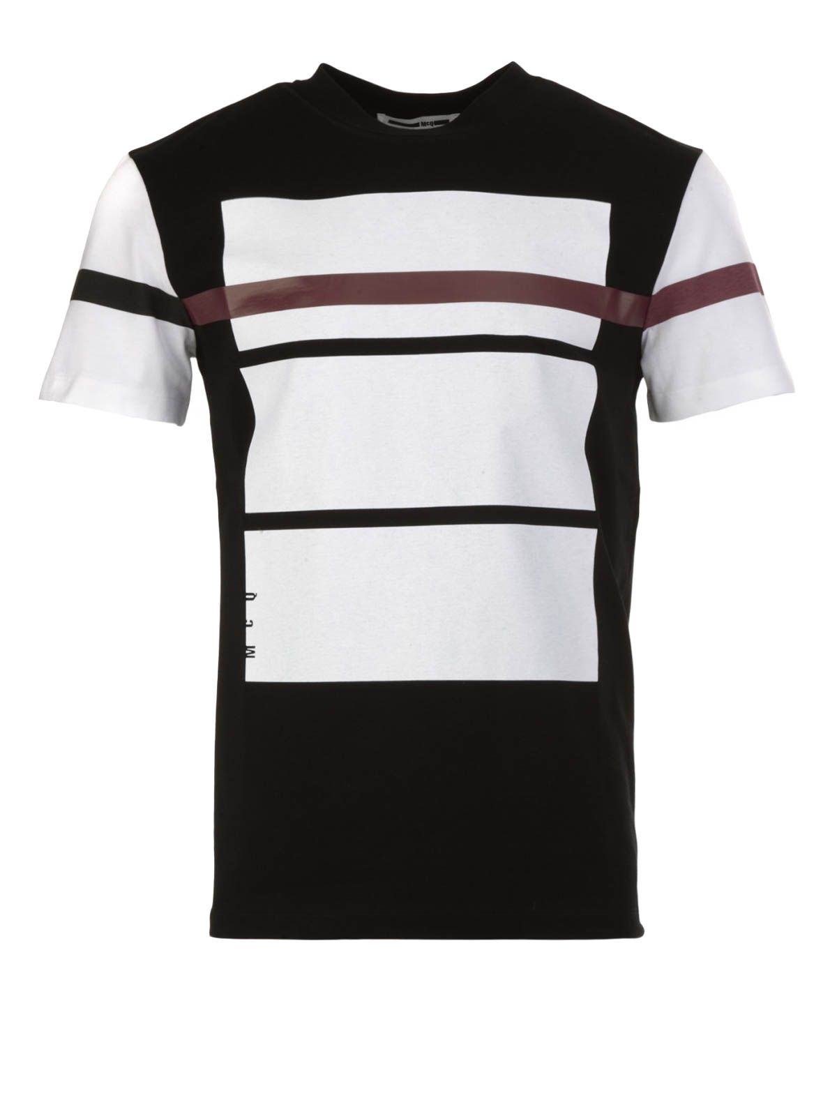 Red line print t shirt by mcq t shirts ikrix for Red line printing