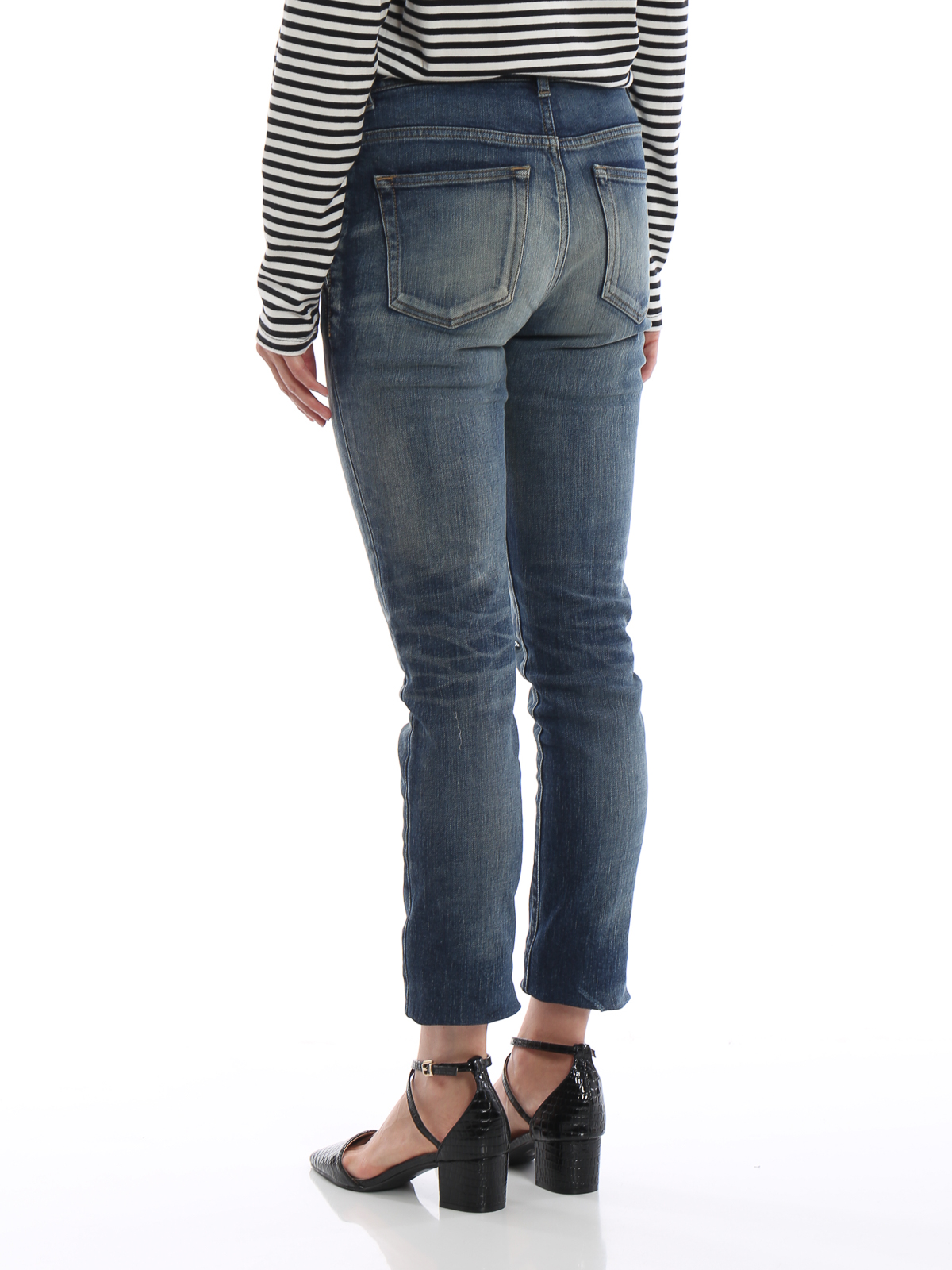 1189a394a01f Saint Laurent - Medium waist worn out stone washed jeans - skinny ...