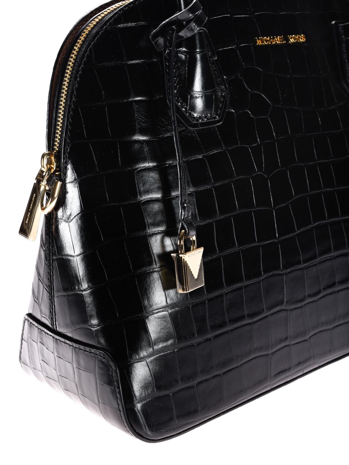 Michael Kors - Mercer croco print black handbag - bowling bags ...