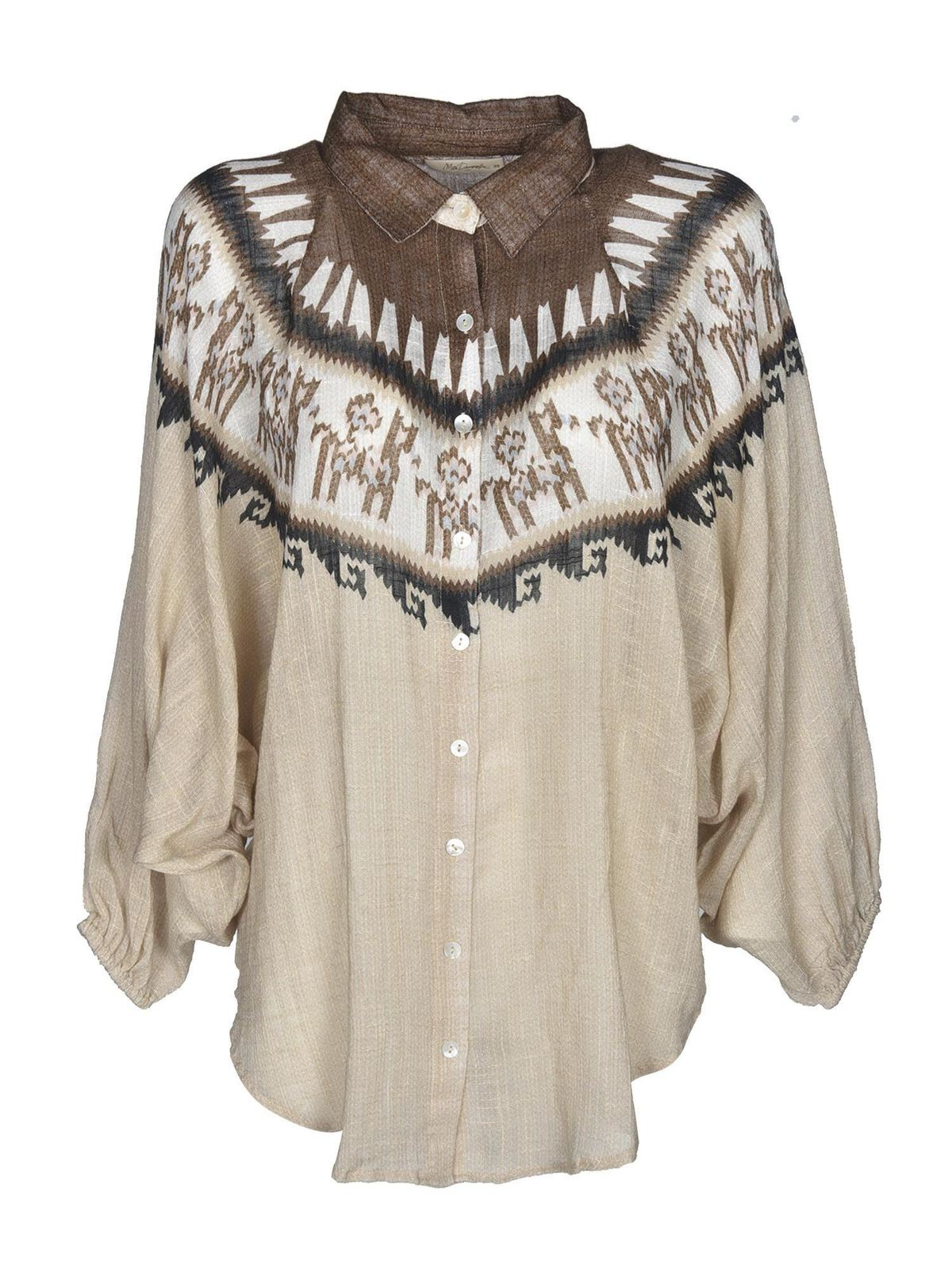 Mes Demoiselles CHEVIN SHIRT IN BEIGE AND BROWN