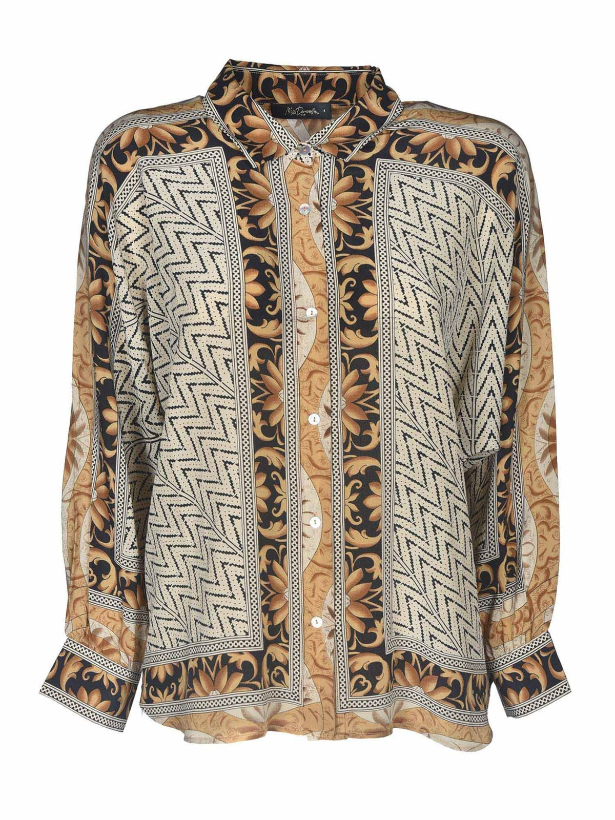 Mes Demoiselles SHALLOW  PRINTED SHIRT IN BROWN AND BEIGE