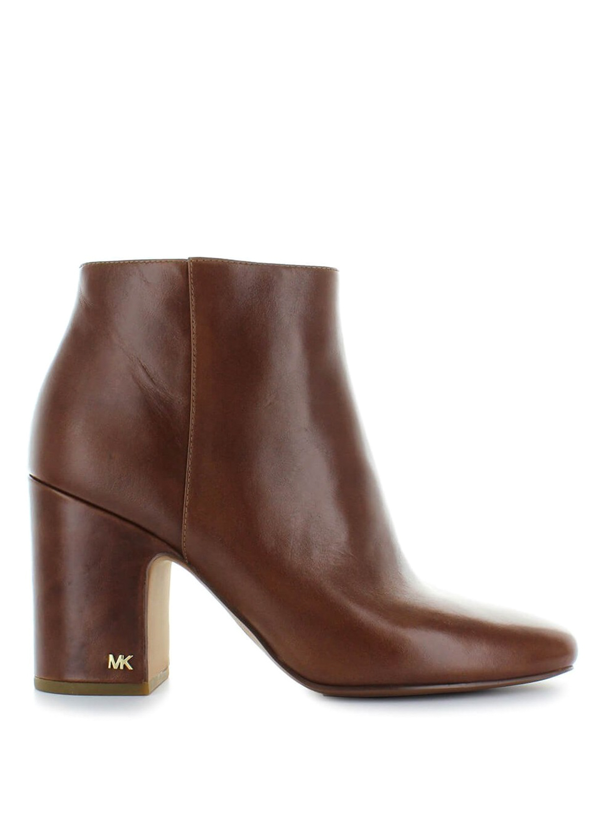 Michael Kors Elaine Thick Heel Glossy Leather Booties Ankle Heels Boots