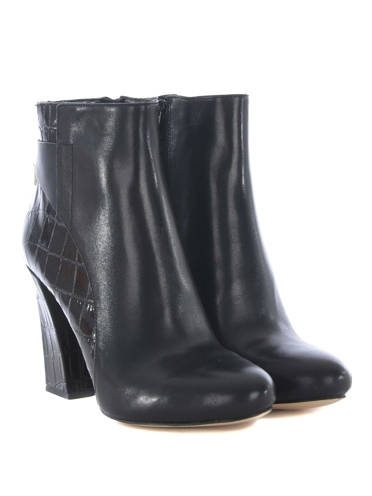Mira Black Leather Booties By Michael Kors Ankle Boots