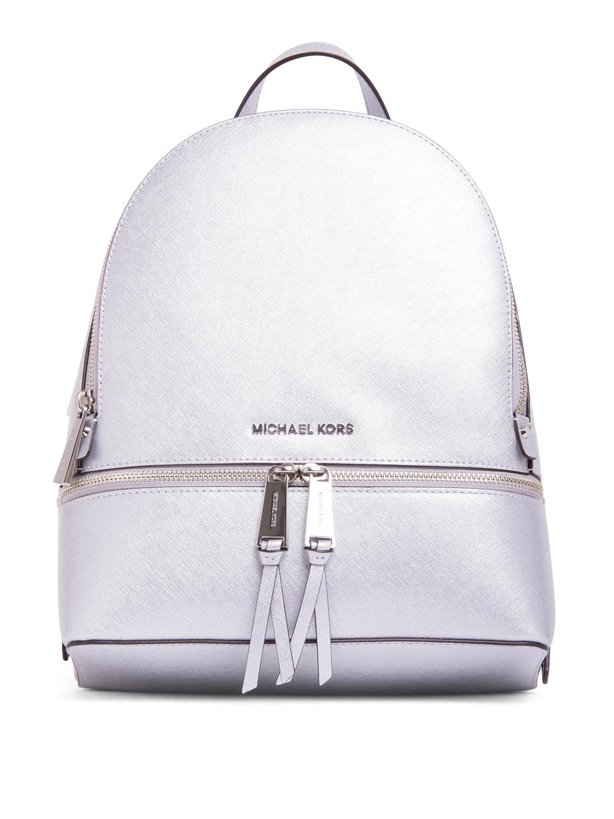 metallic saffiano rhea backpack by michael kors backpacks ikrix. Black Bedroom Furniture Sets. Home Design Ideas