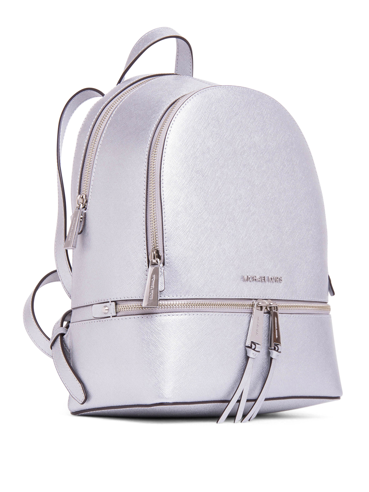 metallic saffiano rhea backpack by michael kors. Black Bedroom Furniture Sets. Home Design Ideas